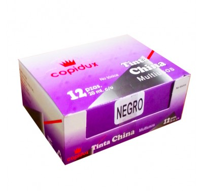 Tinta china Copidux negra con 12 piezas (de 20 ml. c/u)