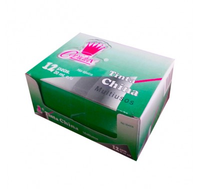 Tinta china Copidux verde con 12 piezas 15 ml.